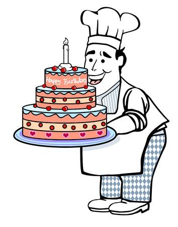 confectioner: Cake with confectioner Illustration