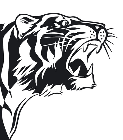 aggression: Tigers sign in black and white Illustration