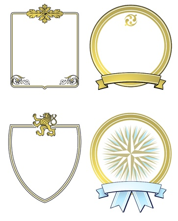 marginal: label and aristocratic shields, gold