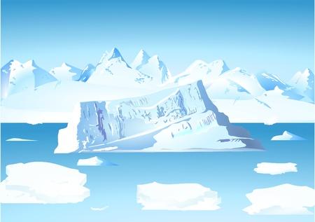 Iceberg en gletsjer Vector Illustratie