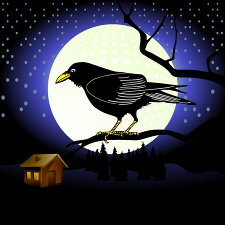 Raven in full moon Stock Vector - 10391183