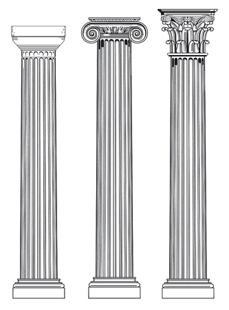 three ancient columns Vector
