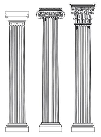 colonna romana: tre colonne antiche Vettoriali