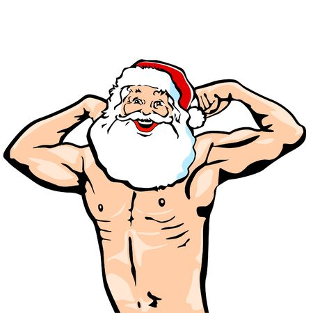 xmas party: Christmas muscular man Illustration