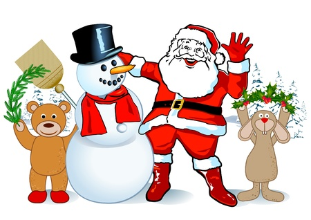 santa claus and snowman Vector