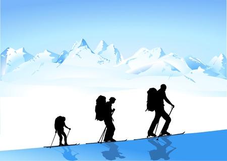 クライマー: 冬のハイキング  イラスト・ベクター素材