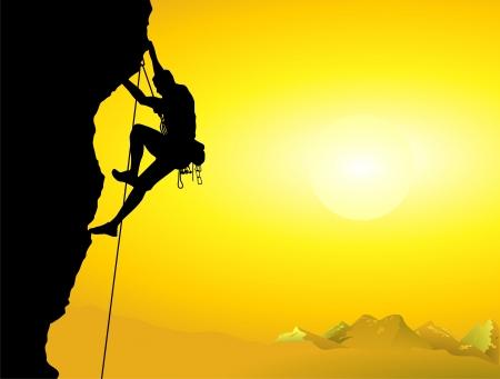 climber: bergbeklimmer op een bergwand Stock Illustratie