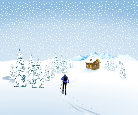 winter landscape with a skier and mountain hut Иллюстрация