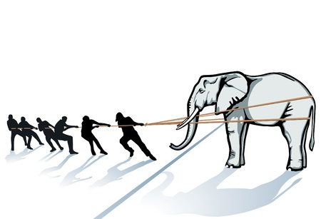 tug of war: pull the elephant from the Ice