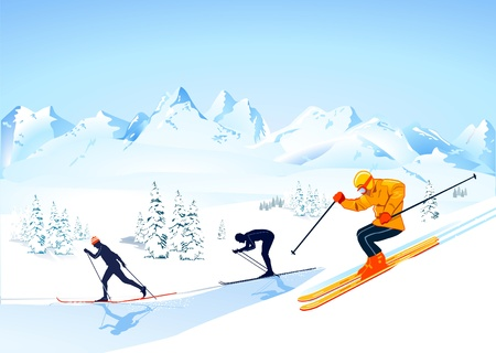 downhill skiing: cross country skiing