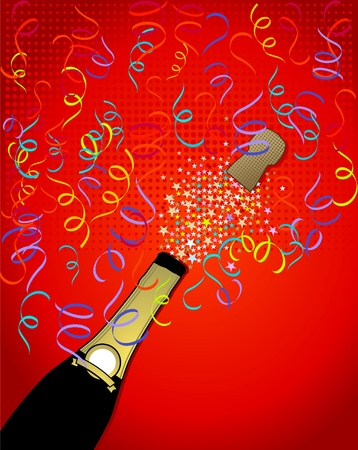 popping the cork: bottle of champagne popping funky background Illustration