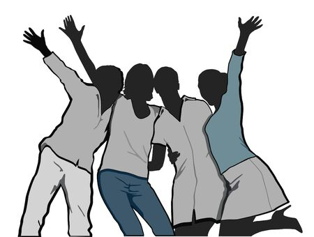 rejoice: four women cheer and rejoice Illustration