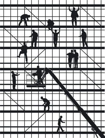 construction workers isolated on white Stock Vector - 10590511