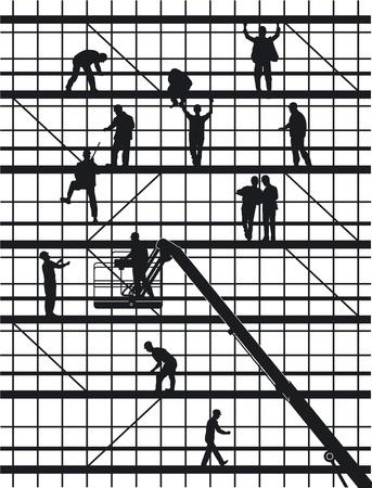 trabajadores: trabajadores de la construcci�n aislada en blanco Vectores