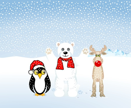 Penguins, polar bears and reindeer are celebrating Christmas Vector