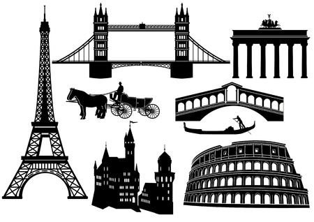 Main cities and sights in Europe Vector