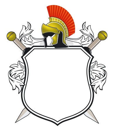 ancient soldiers: antique Coat of Arms Illustration