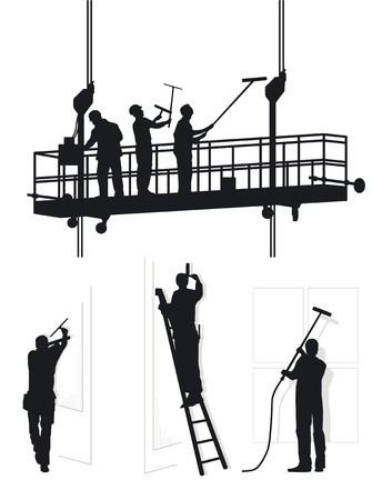 window cleaners at work Illustration