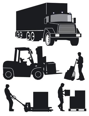 carrying box: trabajador con tenedor cami�n de palets