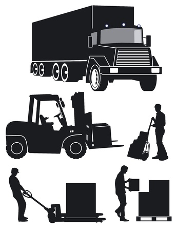 carrying box: worker with fork pallet truck