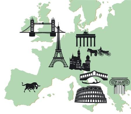 attractions: european travelling Illustration