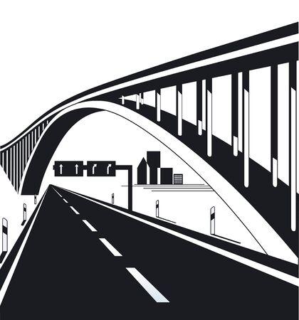 highway traffic: Highway bridge Illustration