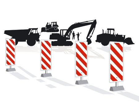 dozer: Road construction and road block
