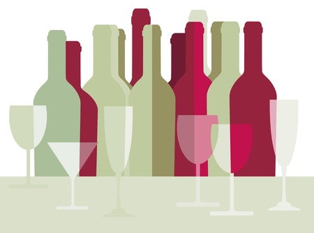 Wine bottles and wine glasses Vector