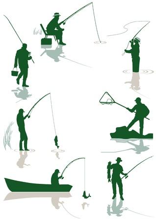 fishing boat: 물고기와 낚시 일러스트
