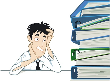 worry tension: a large mountain of documents