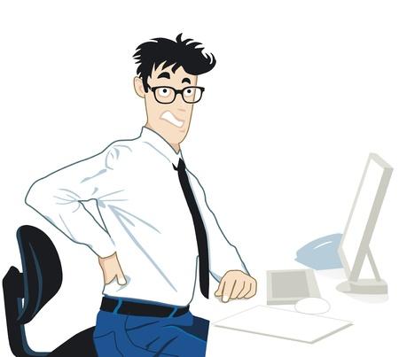 business stress: El dolor de espalda en la oficina Vectores