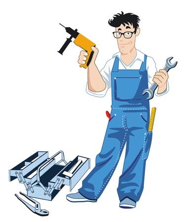 reparaturen: Handwerker mit Werkzeugkasten