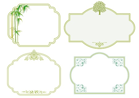 bamboo border: Floral labels
