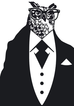 owl with Dinner jacket Vector