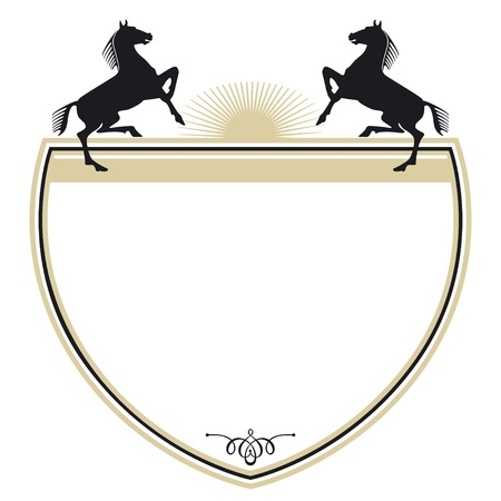 Coat of arms with two horses  Vector