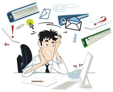 El estrés en su escritorio Ilustración de vector