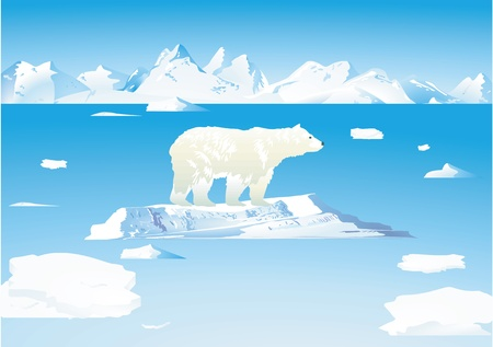 Polar bears and icebergs Vector