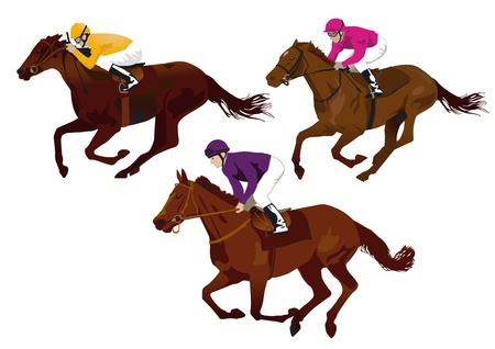 corse di cavalli: fantini alle corse Vettoriali
