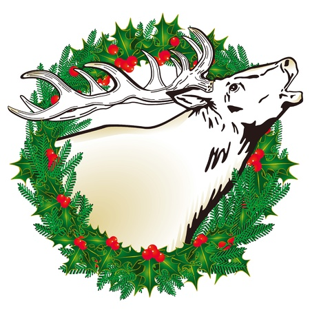 happier: Deer in the wreath Illustration