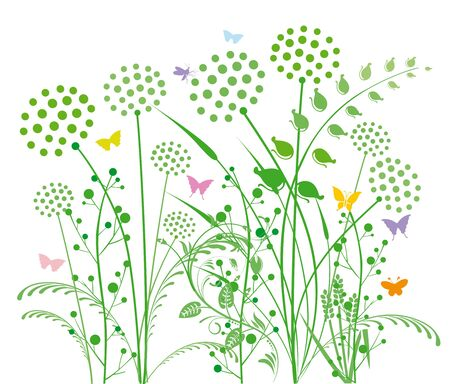 Dandelion and grasses Vector