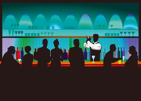 nightclub bar: Bar and bartender Illustration