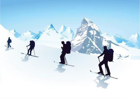 스키: 그룹에서 하이킹 일러스트