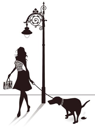 Dog on the street Vector
