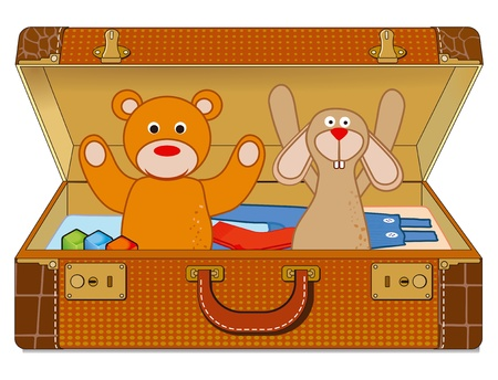 Suitcase with stuffed animals Vector