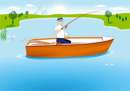 Fishing in Boat Vector
