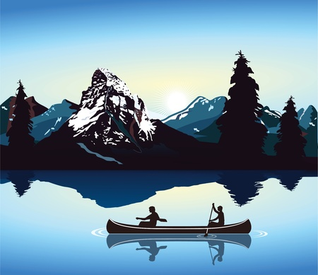 canoeing and mountain scenery Vector