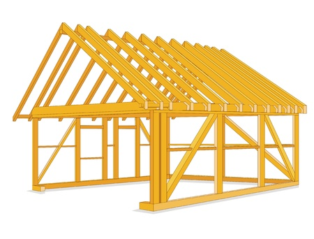 timber houses construction Vector