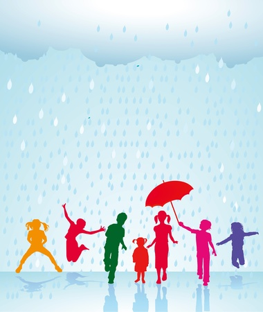 happier: Happy children in the rain Illustration