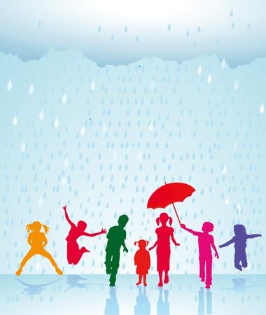 rainstorm: Happy children in the rain Illustration