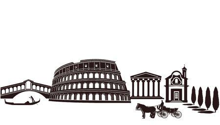 Attractions in Italy Vector
